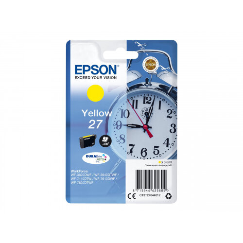 Epson 27 (C13T27044012) - 3.6 ml - yellow - original - ink cartridge - for WorkForce WF-3620, WF-3640, WF-7110, WF-7210, WF-7610, WF-7620, WF-7710, WF-7715, WF-7720