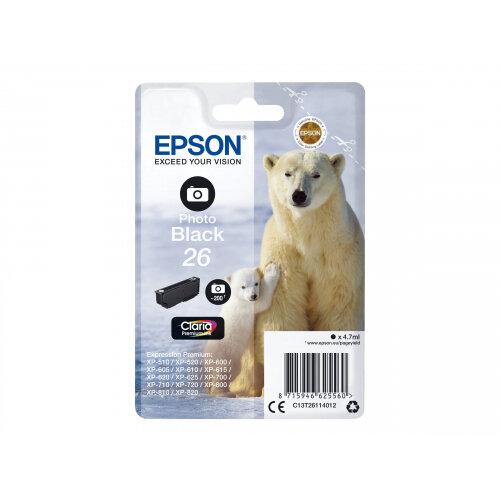 Epson 26 (T2611) Photo Black Original Ink Cartridge Capacity 4.7ml For Expression Premium XP-510, 520, 600, 605, 610, 615, 620, 625, 700, 710, 720, 800, 810, 820