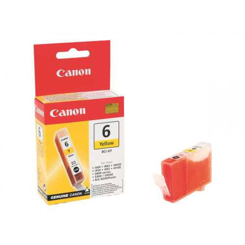 Canon BCI-6Y - Yellow - original - ink tank - for i96X, 990, 99XX; PIXMA IP3000, IP4000, iP5000, iP6000, iP8500, MP750, MP760, MP780; S830