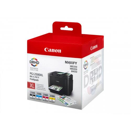 Canon PGI-2500XL BK/C/M/Y Multipack - 4-pack - High Yield - black, yellow, cyan, magenta - original - ink tank - for MAXIFY iB4050, iB4150, MB5050, MB5150, MB5155, MB5350, MB5450, MB5455