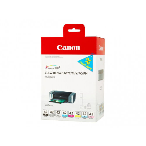 Canon CLI-42 BK/GY/LG/C/M/Y/PC/PM Multipack - 8-pack - dye-based black, dye-based cyan, dye-based magenta, dye-based yellow, dye-based photo cyan, dye-based photo magenta, dye-based light grey, dye-based grey - original - ink tank - for PIXMA PRO-100, PRO