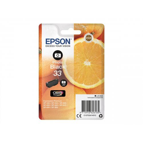 Epson 33 - 4.5 ml - photo black - original - blister - ink cartridge - for Expression Home XP-635, 830; Expression Premium XP-530, 540, 630, 635, 640, 645, 830, 900