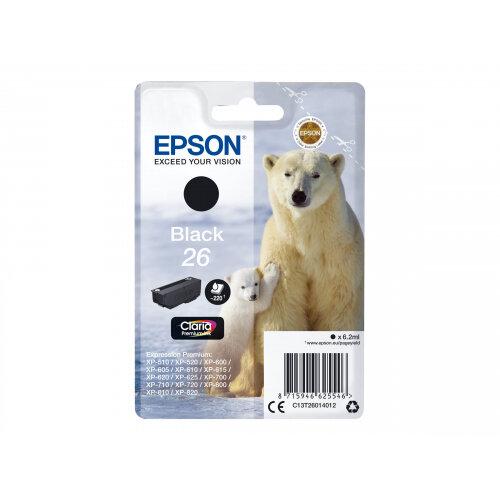 Epson 26 (T2601) Black Original Ink Cartridge Capacity 6.2 ml For Expression Premium XP-510, 520, 600, 605, 610, 615, 620, 625, 700, 710, 720, 800, 810, 820 (C13T26014012)