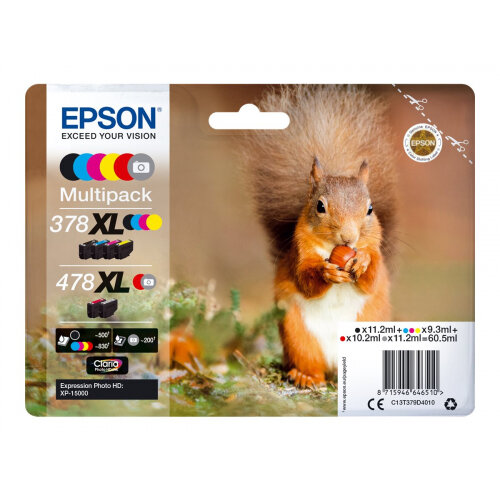 Epson 478XL Multipack - 6-pack - 60.5 ml - high capacity - grey, black, yellow, cyan, magenta, red - original - ink cartridge - for Expression Home HD XP-15000