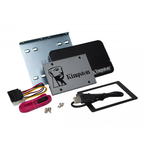 """Kingston UV500 Desktop/Notebook upgrade kit - Solid state drive - encrypted - 1.92 TB - internal - 2.5"""" (in 3.5"""" carrier) - SATA 6Gb/s - 256-bit AES - Self-Encrypting Drive (SED), TCG Opal Encryption 2.0"""