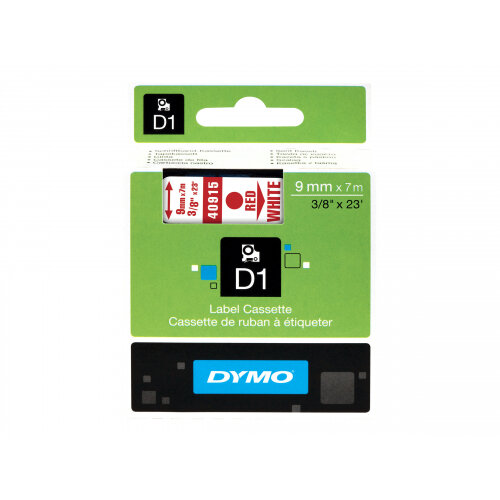 DYMO D1 - Glossy - red on white - Roll (0.9 cm x 7 m) 1 roll(s) tape - for LabelMANAGER