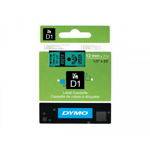 DYMO D1 - Self-adhesive - black on green - Roll (1.2 cm x 7 m) 1 roll(s) label tape - for LabelMANAGER 160, 210D, 210D Kit, 210D Kit Case, 280, 360D, 420P, 420P Kit, 500TS, PnP