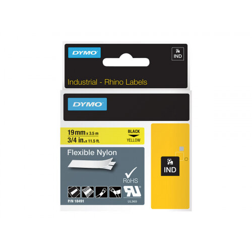 DYMO - Nylon - black on yellow - Roll (1.9 cm x 3.5 m) 1 roll(s) flexible tape - for Rhino 4200, 6000, 6000 Hard Case Kit; RhinoPRO 5000