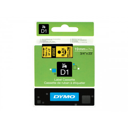 DYMO D1 - Self-adhesive - black on yellow - Roll (1.9cm x 7m) 1 roll(s) label tape - for LabelMANAGER 360D, 420P, 420P Kit, 500TS, PC2, PnP