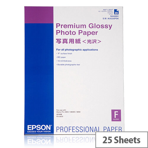 Epson Premium Glossy Photo Paper - Glossy - A2 (420 x 594 mm) 25 sheet(s) photo paper - for Stylus Pro 4900 Spectro M1; SureColor P5000, P800, SC-P10000, P20000, P5000, P6000, P8000