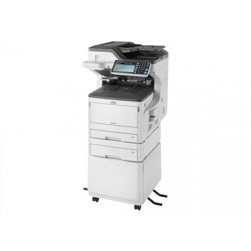 OKI MC873DNCT - Multifunction printer - colour - LED - 297 x 431.8 mm (original) - A3 (media) - up to 35 ppm (copying) - up to 35 ppm (printing) - 935 sheets - 33.6 Kbps - USB 2.0, Gigabit LAN, USB host