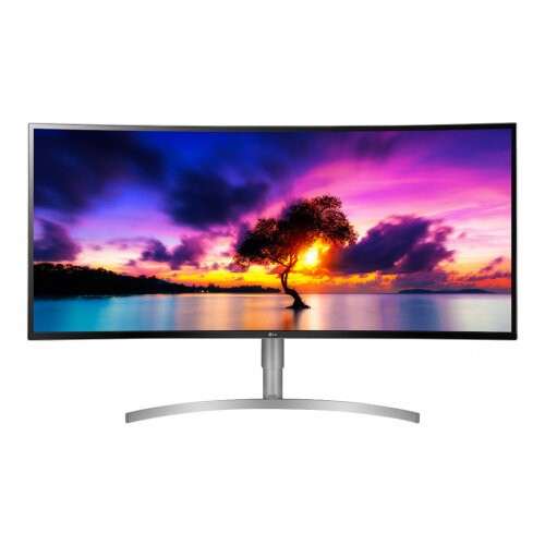 "LG 38WK95C-W - LED Computer Monitor - curved - 37.5"" - 3840 x 1600 UWQHD+ - AH-IPS - 300 cd/m² - 1000:1 - 5 ms - 2xHDMI, DisplayPort, USB-C - speakers - glossy white back cover, black front, silver frame and base"