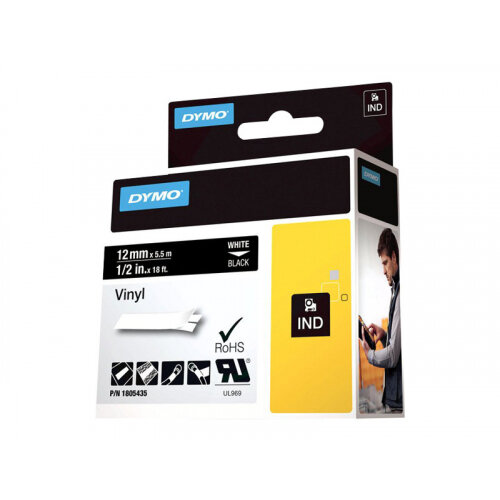 DYMO Rhino Coloured Vinyl - Vinyl - permanent adhesive - white on black - Roll (1.2 cm x 5.5 m) 1 roll(s) tape - for DYMO ILP219; Rhino 4200, 5000, 5200, 6000, 6500; RhinoPRO 3000, 5000, 6000, 6500