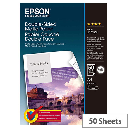 Epson Double-Sided Matte Paper - Matte - A4 (210 x 297 mm) - 178 g/m² - 50 sheet(s) paper - for Expression Home XP-245, 342, 442; Expression Premium XP-540, 900; SureColor P800, SC-P5000