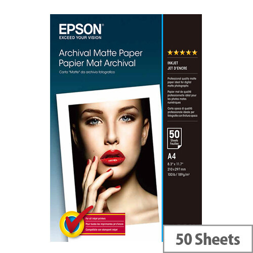 Epson Archival Matte Paper - Matte - A4 (210 x 297 mm) - 189 g/m² - 50 sheet(s) paper - for Expression Home XP-245, 342, 345, 442; Expression Premium XP-540; SureColor P800, SC-P5000