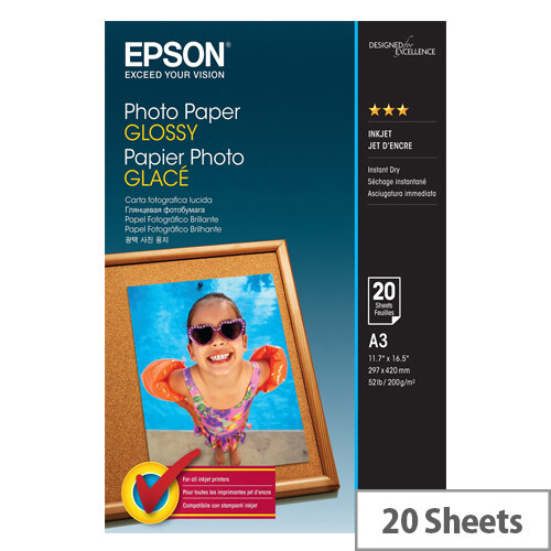 Epson - Glossy - A3 (297 x 420 mm) - 200 g/m² - 20 sheet(s) photo paper - for Expression Photo HD XP-15000; Expression Premium XP-540, 640, 645; WorkForce WF-3620, 7720