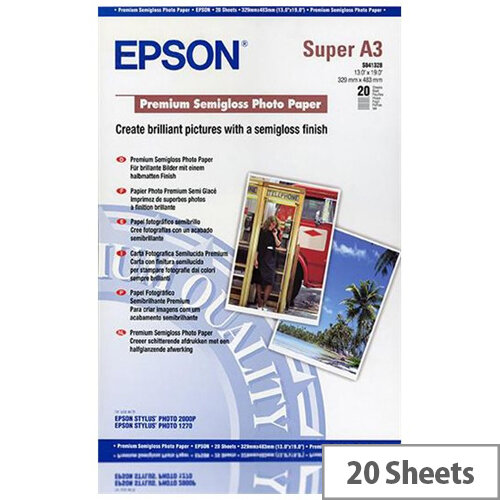 Epson Premium Semigloss Photo Paper - Semi-glossy - A3 plus (329 x 423 mm) 20 sheet(s) photo paper - for SureColor P5000, P800, SC-P10000, P20000, P5000; WorkForce Pro WF-R8590, R8590 D3TWFC