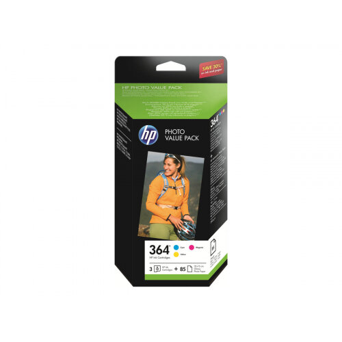 HP 364 Series Photo Value Pack - 3-pack - yellow, cyan, magenta - blister - print cartridge / paper kit - for Photosmart Premium Fax C410