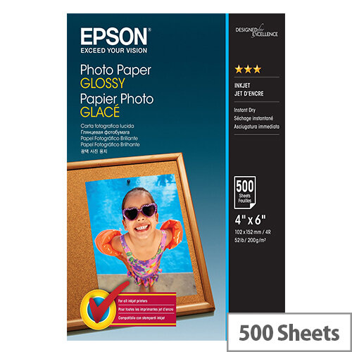 Epson - Glossy - 102 x 152 mm - 200 g/m² - 500 sheet(s) photo paper - for Expression Home HD XP-15000; Expression Premium XP-540, 6000, 6005, 900