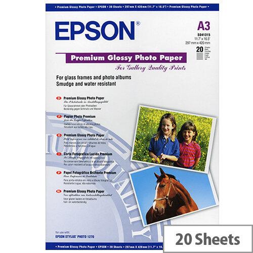 Epson Premium - Glossy - A3 (297 x 420 mm) - 255 g/m² - 20 sheet(s) photo paper - for EcoTank ET-16500; SureColor P5000, P800, SC-P5000; WorkForce Pro WF-R8590, R8590 D3TWFC