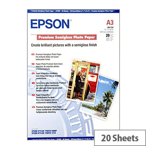 Epson Premium - Semi-glossy - A3 (297 x 420 mm) - 251 g/m² - 20 sheet(s) photo paper - for SureColor P5000, P800, SC-P10000, P20000, P5000; WorkForce Pro WF-R8590, R8590 D3TWFC