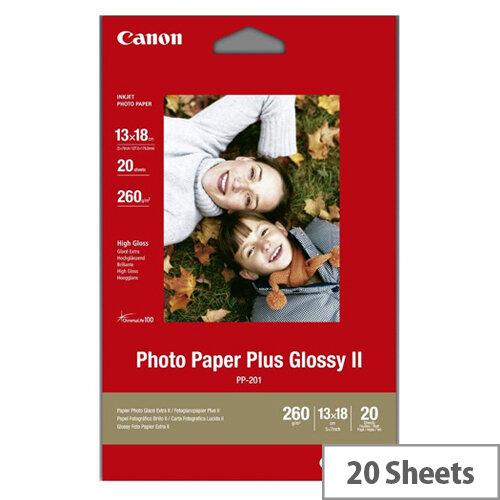 Canon Photo Paper Plus Glossy II PP-201 - Glossy - 130 x 180 mm - 260 g/m² - 20 sheet(s) photo paper - for PIXMA iP2700, iX7000, MG2555, MP210, MP520, MP610, MP970, MX300, MX310, MX700, MX850