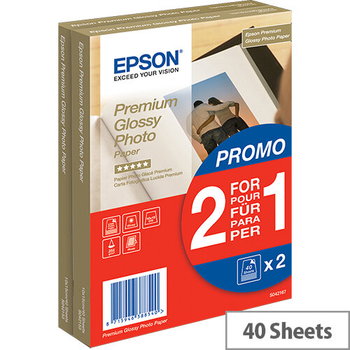 Epson Premium Glossy Photo Paper BOGOF - Glossy - 100 x 150 mm - 255 g/m² - 40 sheet(s) photo paper (pack of 2) - for EcoTank ET-16500; Expression Home HD XP-15000; Expression Premium XP-540, 900