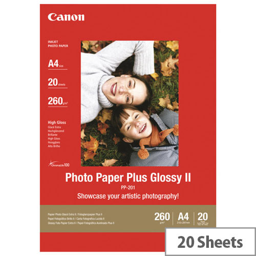 Canon Photo Paper Plus Glossy II PP-201 - Glossy - A4 (210 x 297 mm) - 275 g/m² - 20 sheet(s) photo paper - for PIXMA iP100, iP2600, iP2700, iX7000, MG2555, MG8250, MX7600, MX850, PRO-1, PRO-10, 100