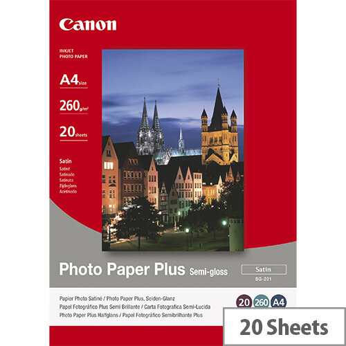 Canon Photo Paper Plus SG-201 - Semi-glossy - A4 (210 x 297 mm) - 260 g/m² - 20 sheet(s) photo paper - for PIXMA iP3680, MG8250, MP198, MP228, MP245, MP252, MP258, MP476, PRO-1, PRO-10, 100; S450