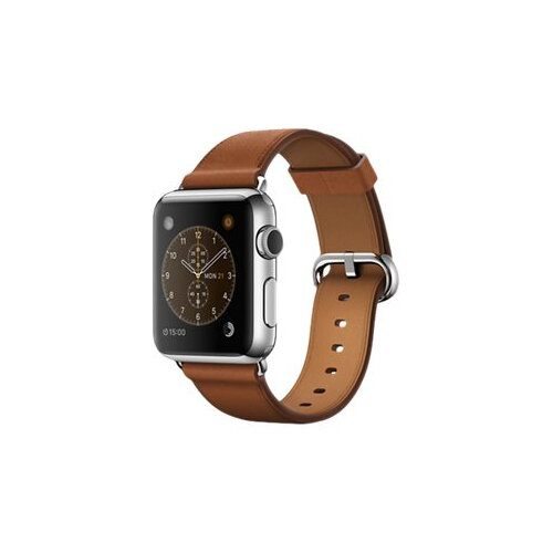 Apple Watch Original - 38 mm - stainless steel - smart watch with classic buckle - leather - saddle brown - band size 130-195 mm - Wi-Fi, Bluetooth - 40 g