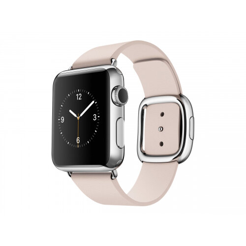 Apple Watch Original - 38 mm - stainless steel - smart watch with modern buckle - leather - soft pink - band size 145-165 mm - M - Wi-Fi, Bluetooth - 40 g