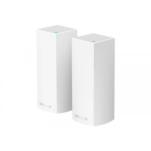Linksys VELOP Whole Home Mesh Wi-Fi System WHW0302 - Wi-Fi system (2 routers) - up to 4,000 sq.ft - mesh - GigE - Bluetooth 4.0 LE, 802.11b/g/n/ac - Tri-Band