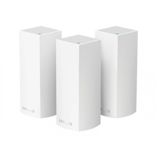 Linksys VELOP Whole Home Mesh Wi-Fi System WHW0303 - Wi-Fi system (3 routers) - up to 6,000 sq.ft - mesh - GigE - Bluetooth 4.0 LE, 802.11b/g/n/ac - Tri-Band