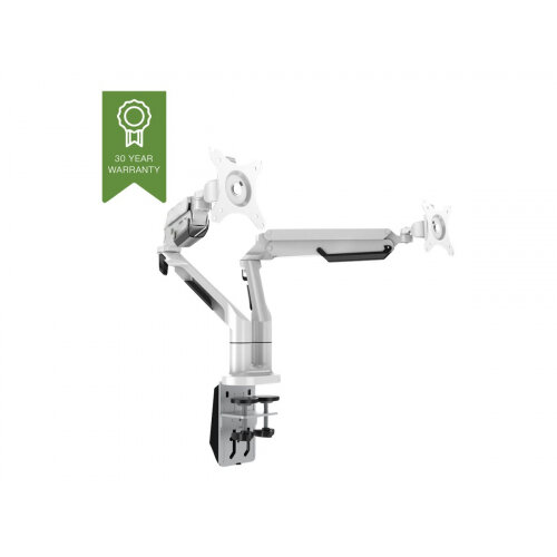 """Vision VFM-DAD3 - Adjustable arm for 2 LCD displays - aircraft-grade aluminium - white - screen size: 10""""-34"""" - desk-mountable"""