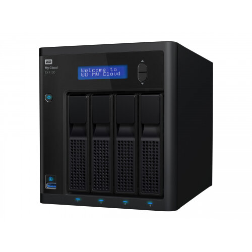 WD My Cloud EX4100 WDBWZE0320KBK - NAS server - 4 bays - 32 TB - HDD 8 TB x 4 - RAID 0, 1, 5, 10, JBOD, 5 hot spare - RAM 2 GB - Gigabit Ethernet - iSCSI