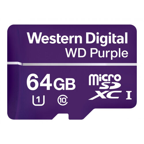 WD Purple WDD064G1P0A - Flash memory card - 64 GB - UHS-I U1 / Class10 - microSDXC - purple