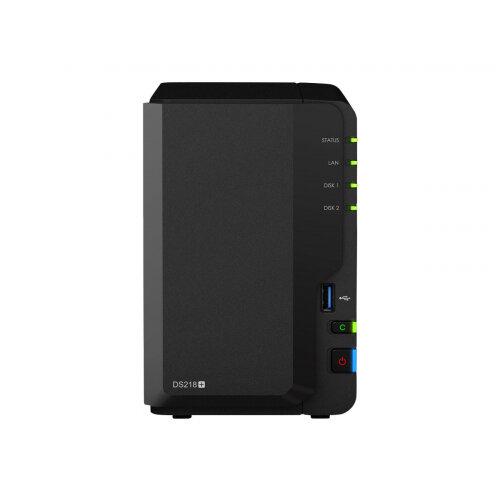 Synology Disk Station DS218+ - NAS server - 2 bays - SATA 6Gb/s / eSATA 6Gb/s - RAID 0, 1, JBOD - RAM 2 GB - Gigabit Ethernet - iSCSI