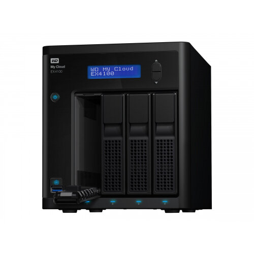 WD My Cloud EX4100 WDBWZE0080KBK - NAS server - 4 bays - 8 TB - HDD 4 TB x 2 - RAID 0, 1, 5, 10, JBOD, 5 hot spare - RAM 2 GB - Gigabit Ethernet - iSCSI