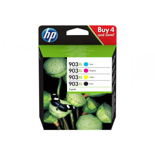 HP 903XL - 4-pack - High Yield - black, yellow, cyan, magenta - original - ink cartridge - for Officejet 6951, 6954, 6962; Officejet Pro 6960, 6961, 6970, 6974, 6975