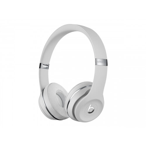 Beats Solo3 - Headphones with mic - on-ear - Bluetooth - wireless - noise isolating - satin silver - for 10.5-inch iPad Pro; 9.7-inch iPad; 9.7-inch iPad Pro; iPhone X, XR, XS, XS Max