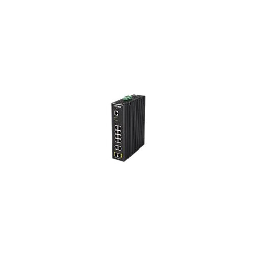 D-Link DIS 200G-12S - Switch - Managed - 10 x 10/100/1000 + 2 x SFP - DIN rail mountable, wall-mountable - AC 120/230 V / DC 46 - 54 V