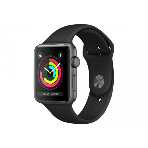 Apple Watch Series 3 (GPS) - 42 mm - space grey aluminium - smart watch with sport band - fluoroelastomer - black - band size 140-210 mm - 8 GB - Wi-Fi, Bluetooth - 32.3 g