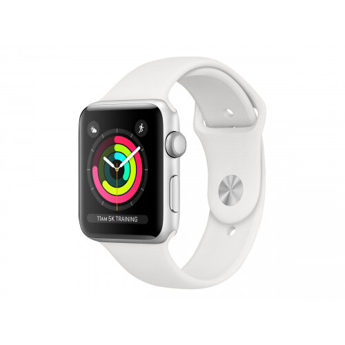Apple Watch Series 3 (GPS) - 42 mm - silver aluminium - smart watch with sport band - fluoroelastomer - white - band size 140-210 mm - 8 GB - Wi-Fi, Bluetooth - 32.3 g