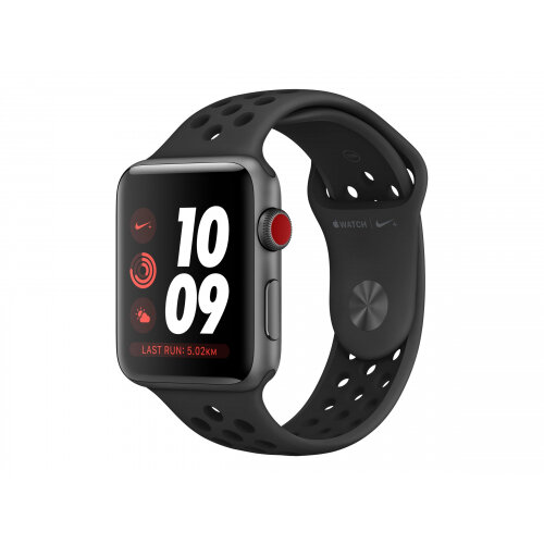 Apple Watch Nike+ Series 3 (GPS + Cellular) - 42 mm - space grey aluminium - smart watch with Nike sport band - fluoroelastomer - anthracite/black - band size 140-210 mm - 16 GB - Wi-Fi, Bluetooth - 4G - 34.9 g