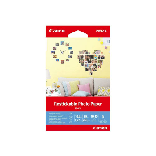 Canon Restickable Photo Paper RP-101 - Matte - removable adhesive - 10.6 mil - 100 x 150 mm - 260 g/m&up2; - 69 lbs - 5 sheet(s) photo stickers
