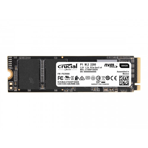 Crucial P1 - Solid state drive - 500 GB - internal - M.2 2280 - PCI Express 3.0 x4 (NVMe)