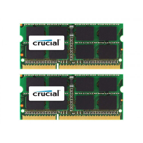 Crucial - DDR3 - 16 GB: 2 x 8 GB - SO-DIMM 204-pin - 1333 MHz / PC3-10600 - CL9 - 1.35 / 1.5 V - unbuffered - non-ECC - for Apple iMac 27&uot; (Late 2012, Late 2013); iMac with Retina 5K display (Late 2014, Mid 2015); Mac mini (Late 2012); MacBook Pro (M