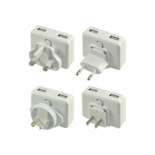 Duracell Worldwide Charger - Power adapter - 2.4 A - 2 output connectors (USB) - white