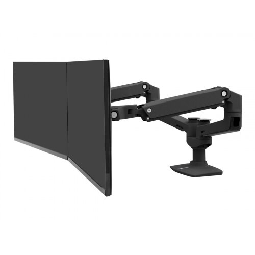 Ergotron LX Dual Side-by-Side Arm - Mounting kit (desk clamp mount, pole, extension brackets, 2 monitor arms) for 2 LCD displays - aluminium - matte black - screen size: up to 27&uot; - desktop