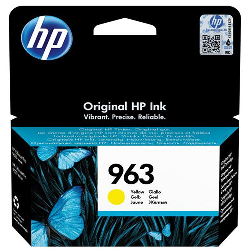 HP 963 - 10.7 ml - yellow - original - Officejet - ink cartridge - for Officejet Pro 9010, 9012, 9013, 9014, 9015, 9016, 9019/Premier, 9020, 9022, 9023, 9025